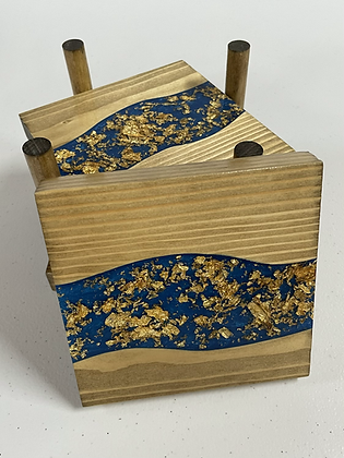 Epoxy river coasters. Cobalt with gold flake and golden oak stain