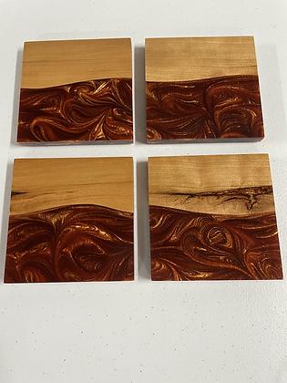 Cherry hardwood epoxy coaster set of 4