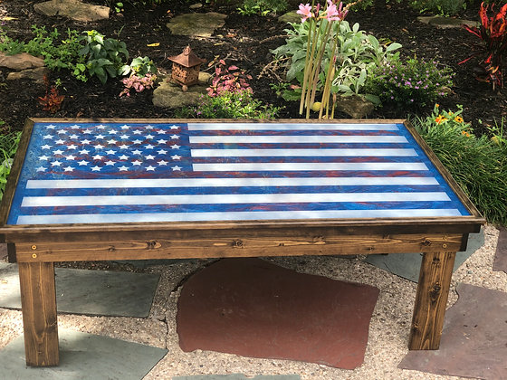 Epoxy American Flag Coffee Table