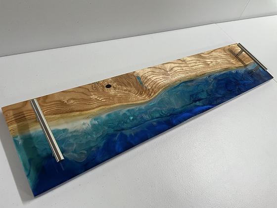 Epoxy ocean scape charcuterie board