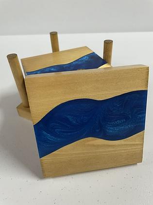 Epoxy river coasters. Cobalt and golden oak