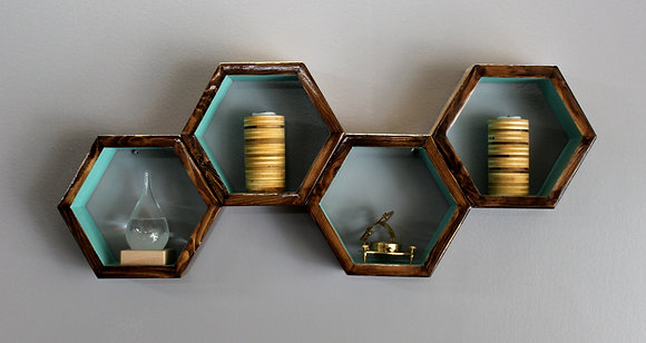 4 Piece Hexagon Shelving