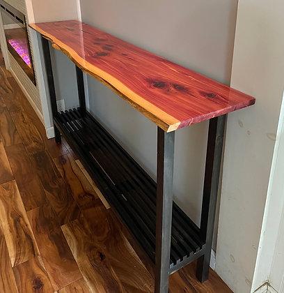 Live edge cedar console/entryway table