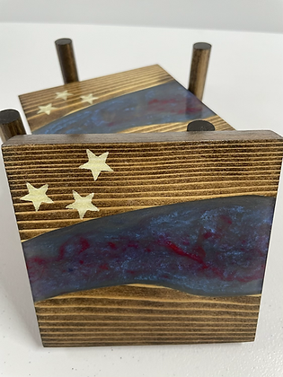 Epoxy river coasters. Red and blue with stars