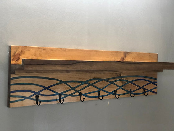 Coat Rack with Inlaid Epoxy