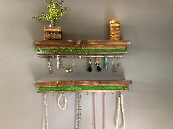 Epoxy Jewelry Hanger with Shelf Set
