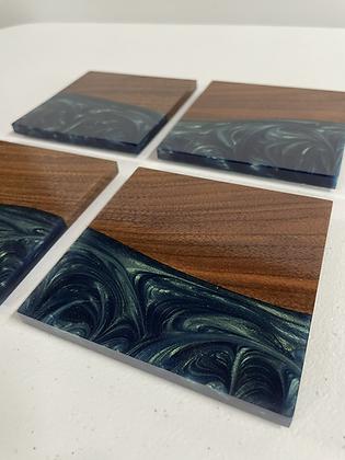 Cherry hardwood and epoxy river coasters set of 4
