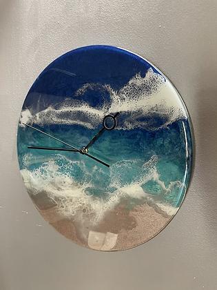 Ocean epoxy resin wall clock
