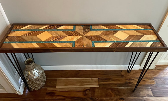 Barn quilt and epoxy console/entryway table