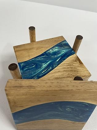 Epoxy river coasters. Rainbow blue and special walnut