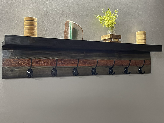Wood and epoxy coat rack