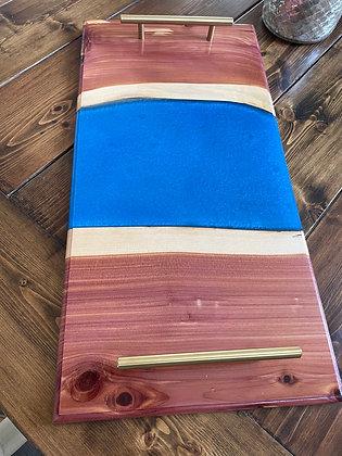 Cedar live edge epoxy serving tray