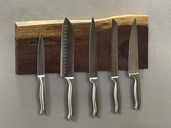 Black walnut and epoxy magnetic knife rack