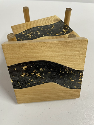 Epoxy river coasters. Onyx with gold flake and golden oak stain