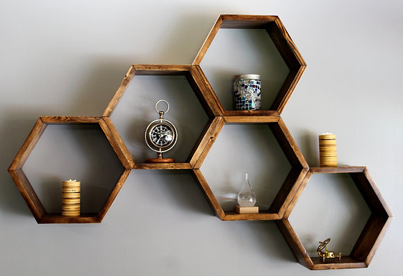 5 Piece Hexagon Shelving Unit