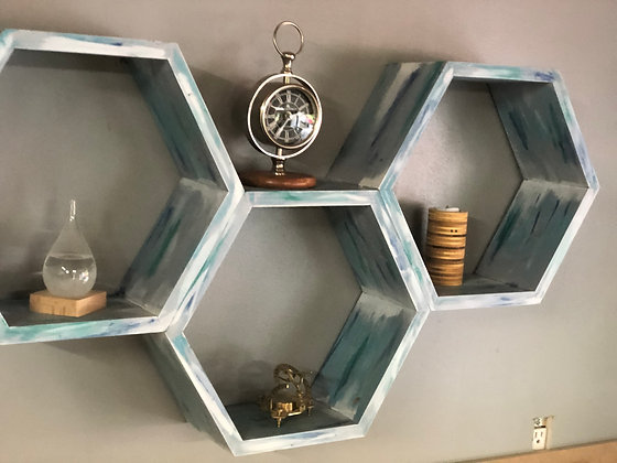 3 Piece Hexagon Shelving Unit