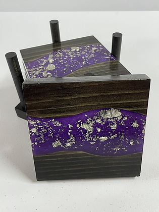 Epoxy river coasters. Violet with silver flake and ebony stain