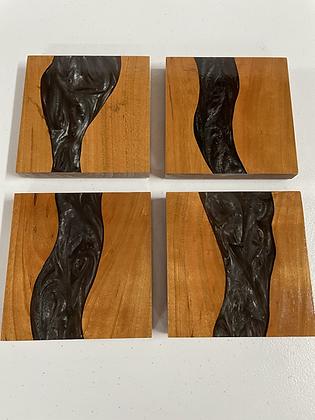 Cherry hardwood and epoxy coaster set of 4