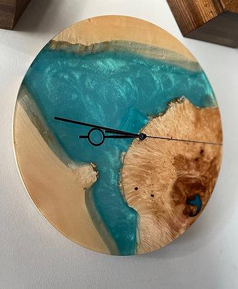 Live edge epoxy wall clock