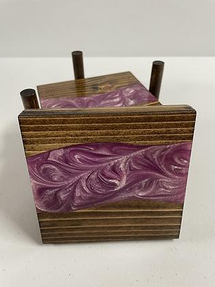 Epoxy river coasters. Lavender and espresso