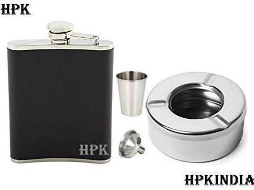 HPK Officer-choice Black Hip Flask With Stainless Steel Ashtray 1 Funnel