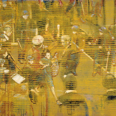 Untitled 1 (Golden Screen), 2015, oil on linen, 30x40in