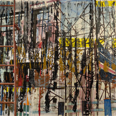 Ladder over Dhakuria through forest, 2020, acrylics and oil on canvas, 62x100in