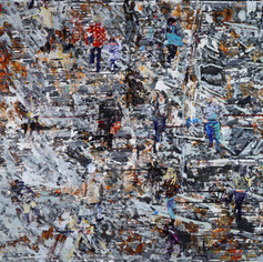 To Walk and to Work, 2020/1, acrylics on canvas, 58x76in