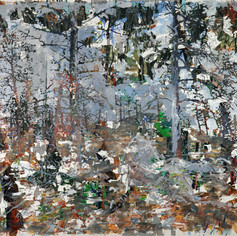 Three Forests, One Burn, 2020, acrylics on canvas, 62x82in