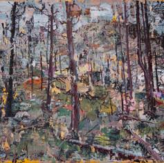 Burn(s), 2020, acrylics on canvas, 9x12in