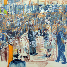 Official Visit, 2014, acrylics and oil on plywood, 14x16in