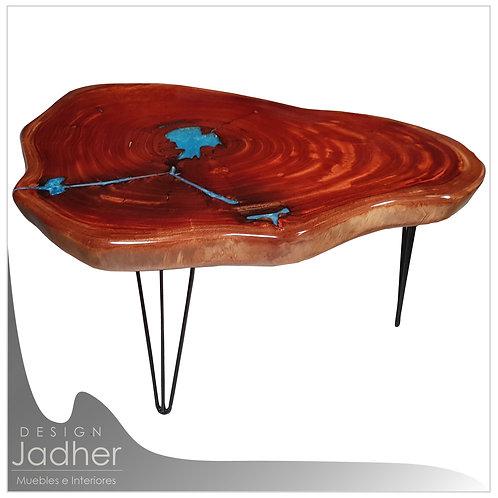 Mesa de Centro - Resina Azul | Cedro