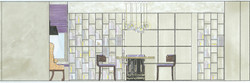 Rendered Dining-Library elevation.