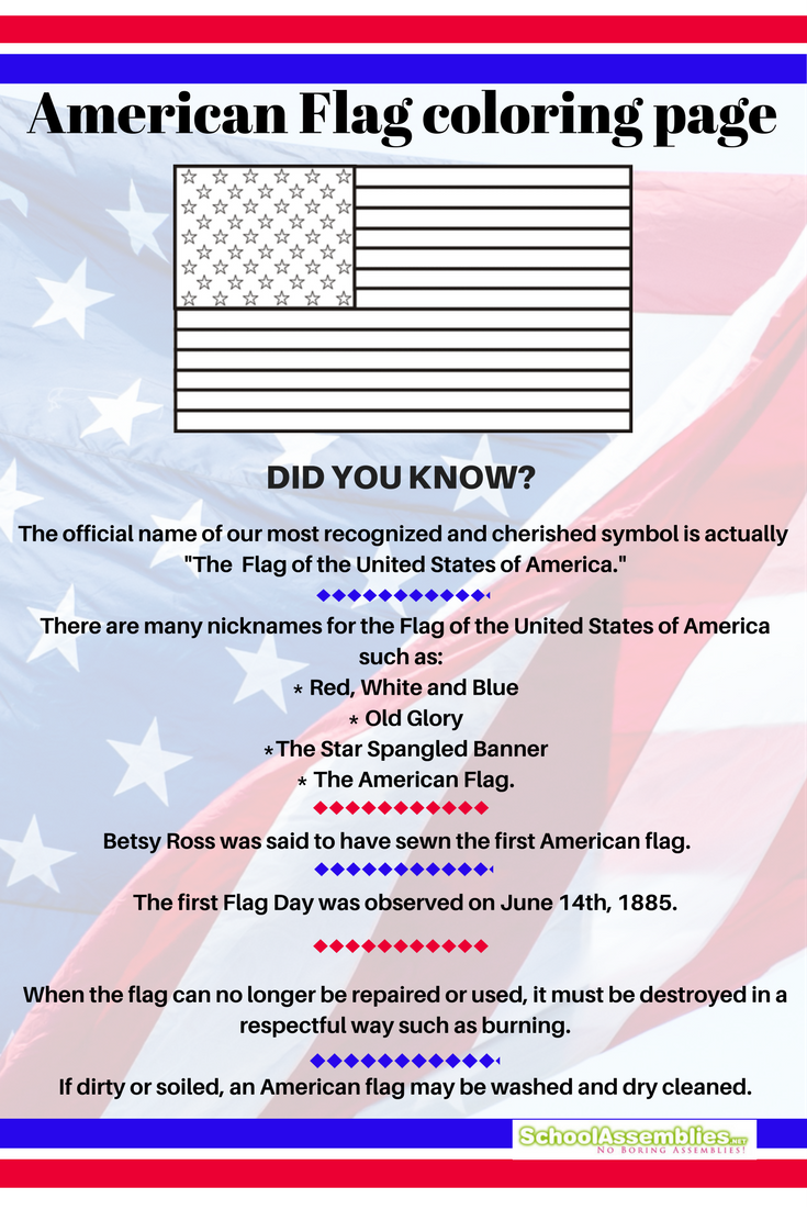 american flag coloring page infographic