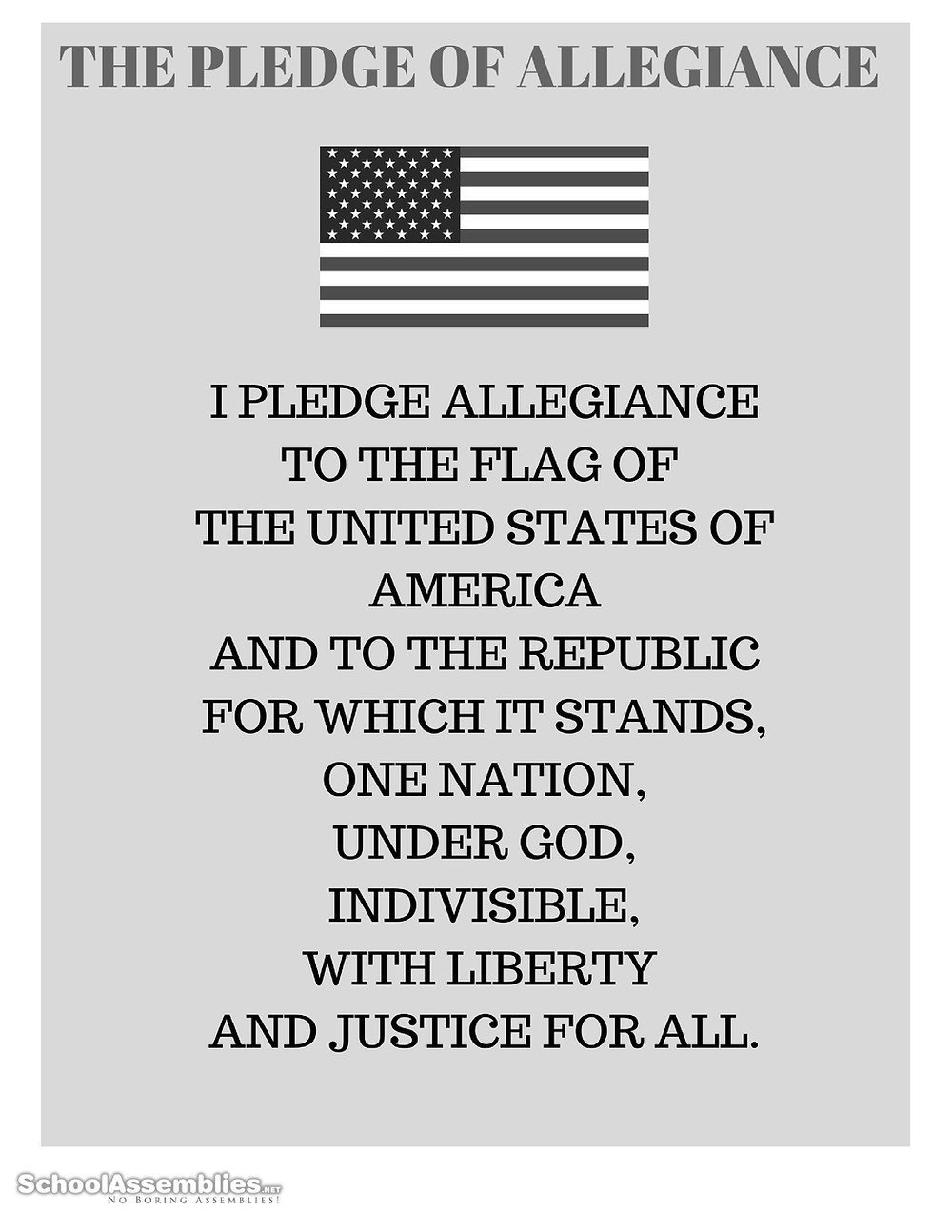 pledge of allegiance words printable black and white