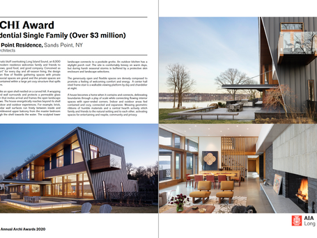 Residential Single Family Project in Sands Point, NY won an AIA Long Island