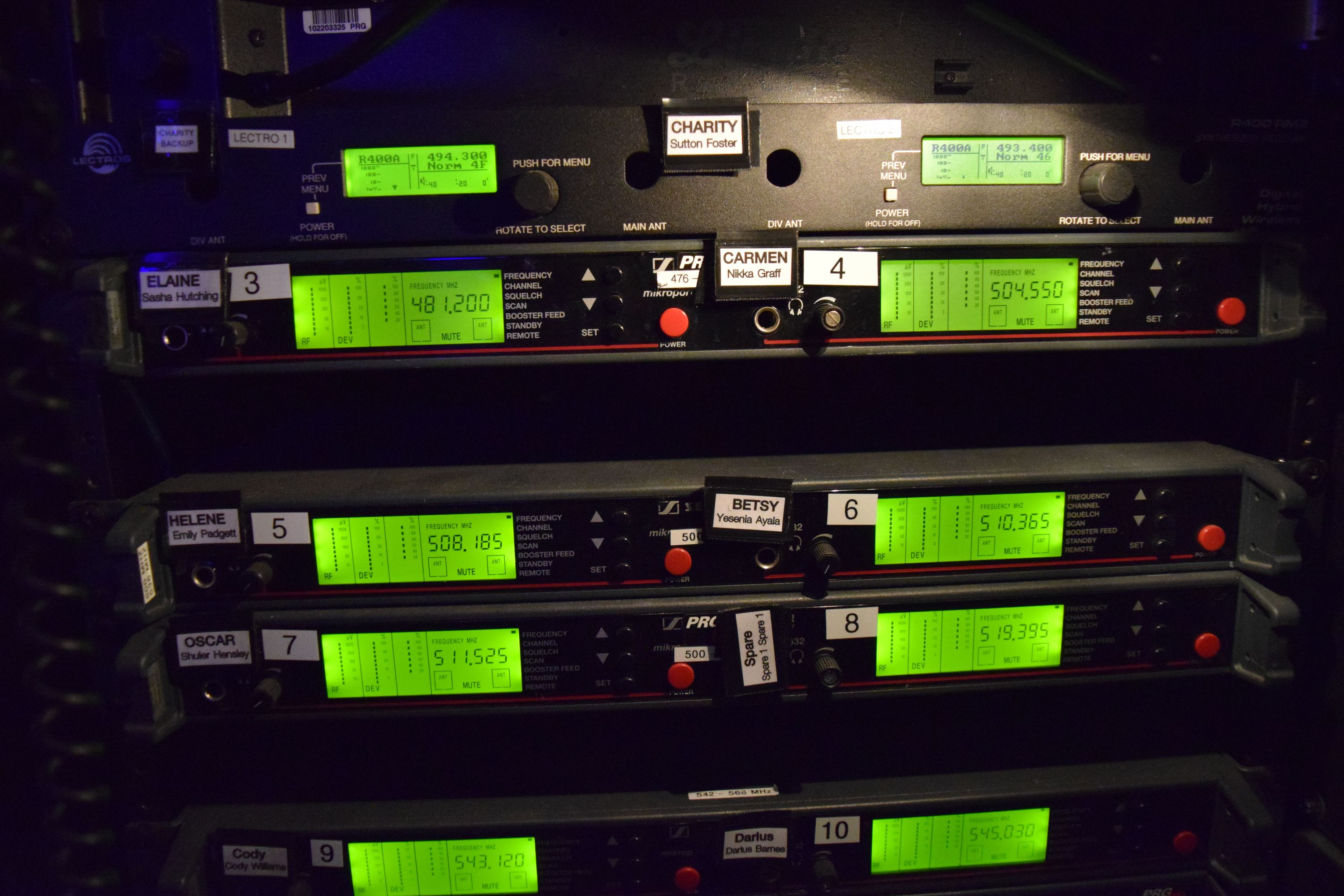 RF Rack Receiver Labels Close-Up