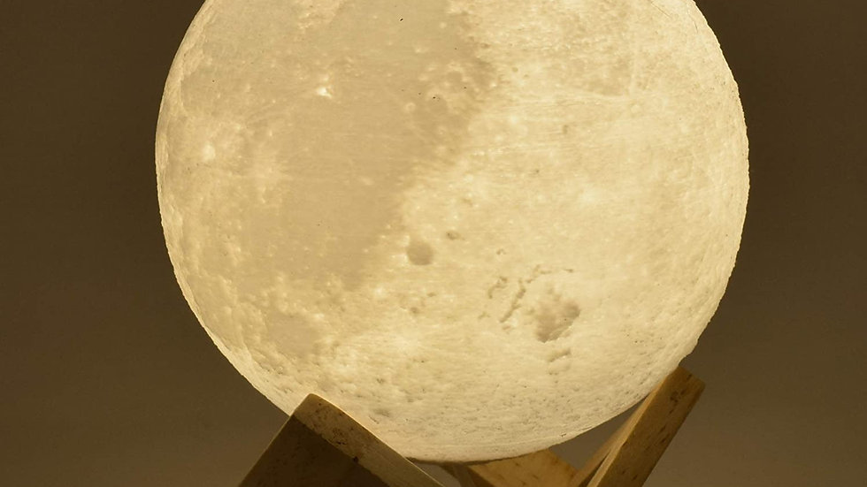 Lunar Moon Lamp wired with Wooden Stand