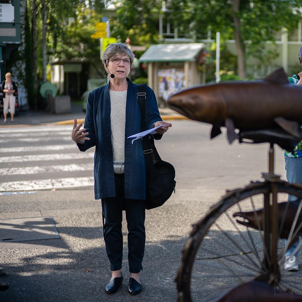 """Susan Braley talking to """"Salmon Cycle"""" Oak Bay"""
