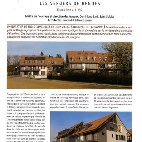 Edifice - Construction d'immeubles à Ecublens - Résidence Les Vergers de Renges