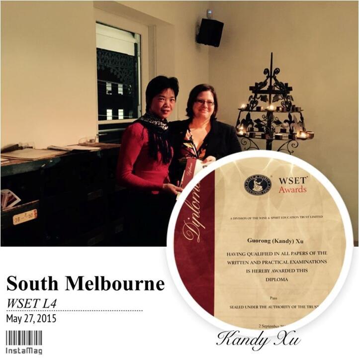 英国葡萄酒学院专员Jude Mullins为徐国荣女士颁发WSET-4 Dioploma证书