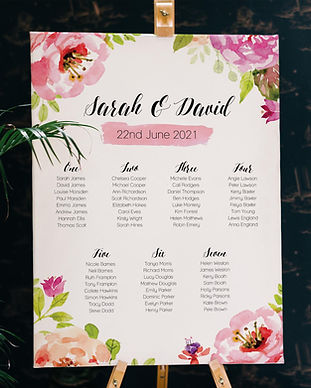 Taryn Payne - Live Laugh Create Wedding Stationery - Floral Watercolour Table Plan