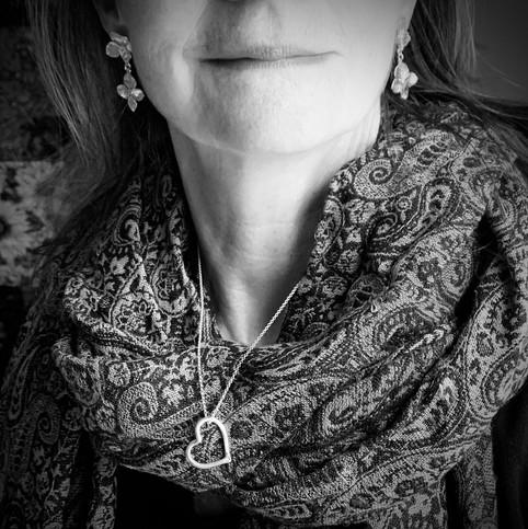 Covid Heart and Hydrangea Drop Earrings