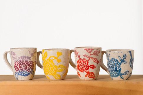 Carved Flower Mugs