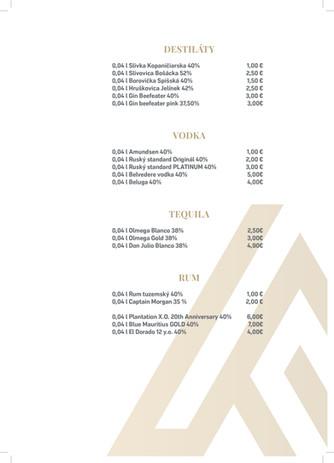 ArtHotel- stále menu