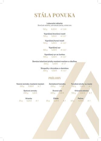 ArtHotel - stále menu