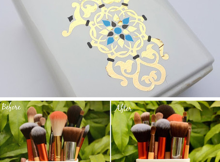 brush holder transformation using temporary tattoos