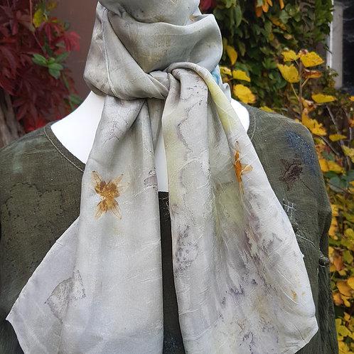 Grey blue indigo silk scarf
