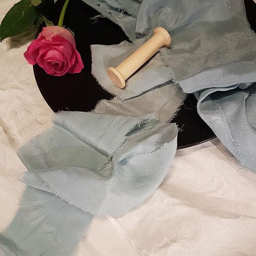 Ice Flower Blue hand dyed silk ribbon