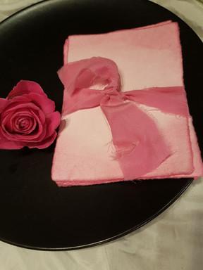 Plant dyed silk ribbon & paper